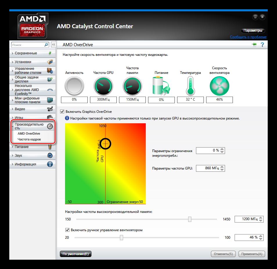 AMD Catalyst Control Center Производительсность AMD OverDrive